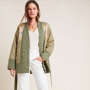 Anthropologie Quilted Patchwork Kimono Moss XS